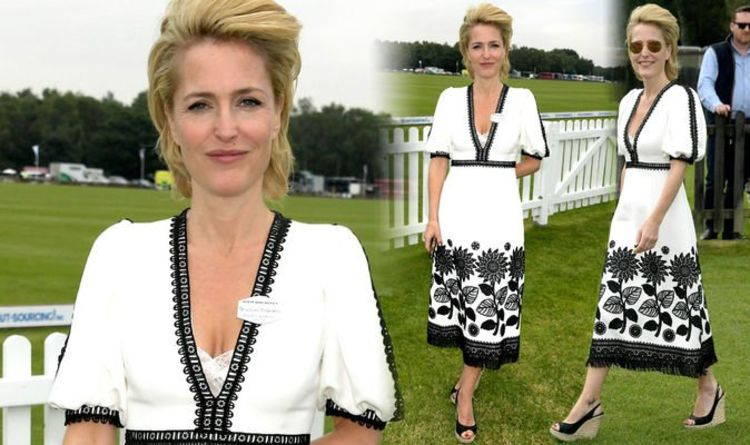 Gillian Anderson dons plunging white dress for Royal Windsor Cup Final 2019