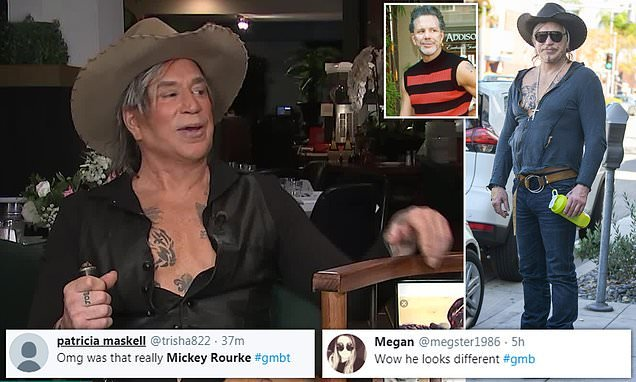 Viewers left baffled by Mickey Rourke's bizarre appearance on GMB