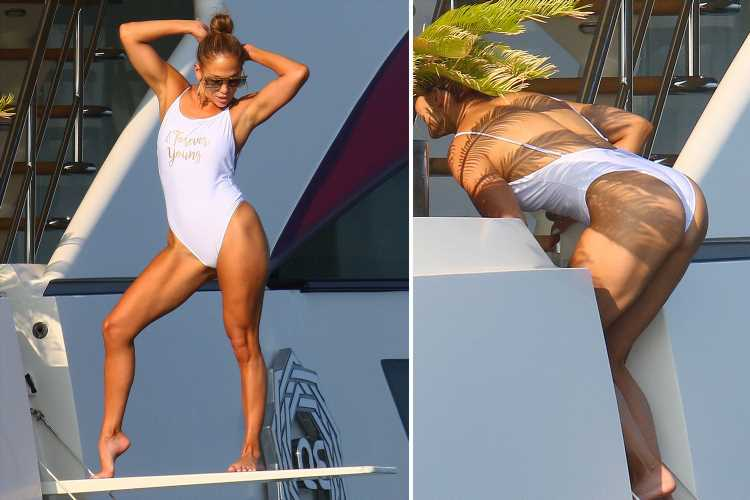Jennifer Lopez 'forever young' as the age defiant 50 year old stuns in white swimsuit while in Saint-Tropez