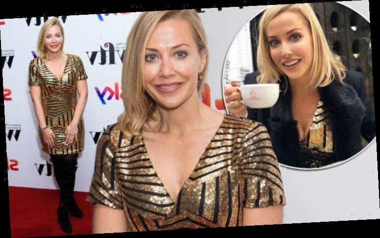 A Place in the Sun presenter Laura Hamilton dazzles in low-cut gold dress in London