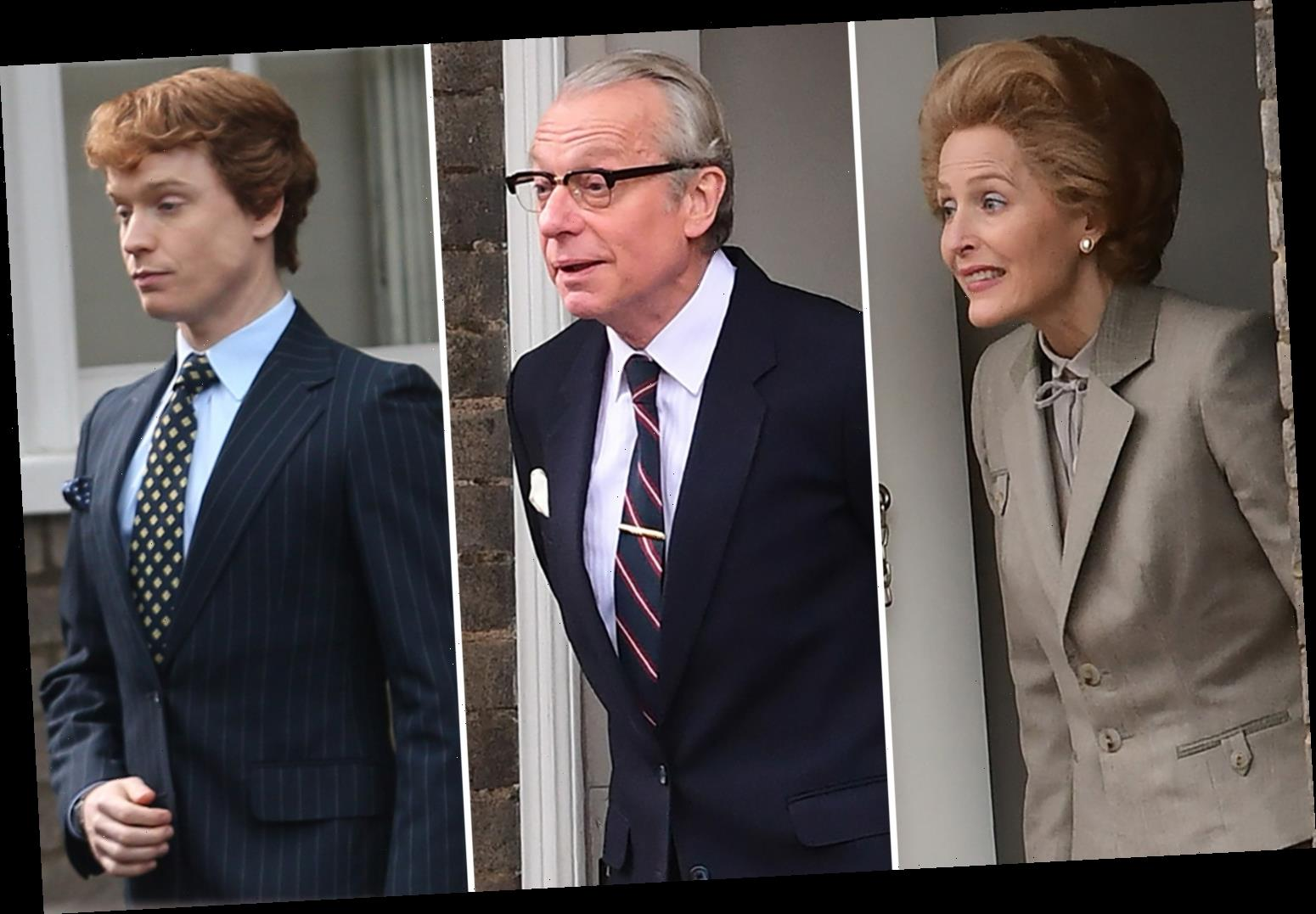 The Crown offers first look at Margaret Thatcher's family as Gillian Anderson films scene with husband and son