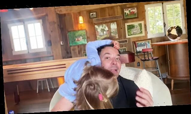 Jimmy Fallon's Cute Kids Crash His 'Tonight Show' Monologue As he Broadcasts From Home — Watch