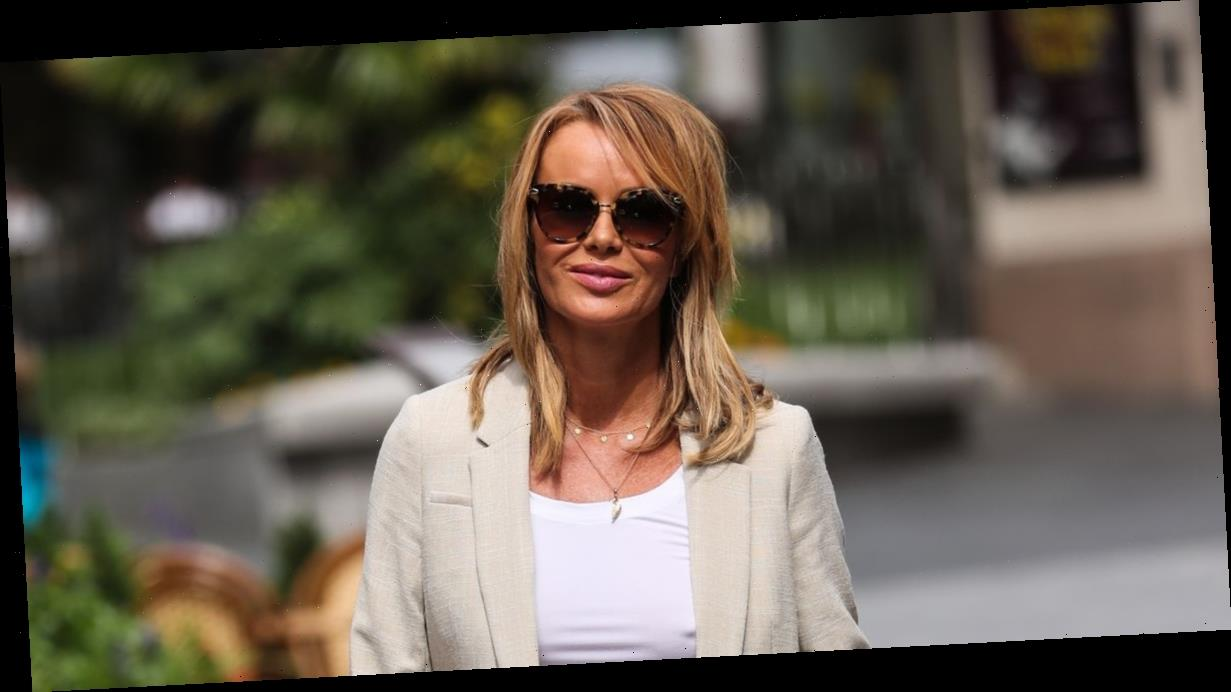 Amanda Holden oozes glamour as she puts on eye-popping display in cream short suit while leaving work