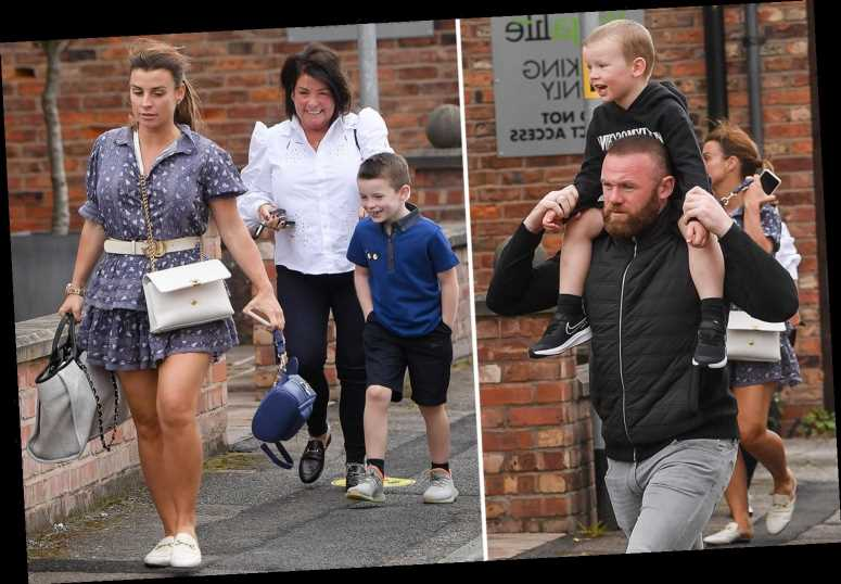 Wayne Rooney carries son Kit on his shoulder as he and Coleen enjoy family day with the kids in Cheshire