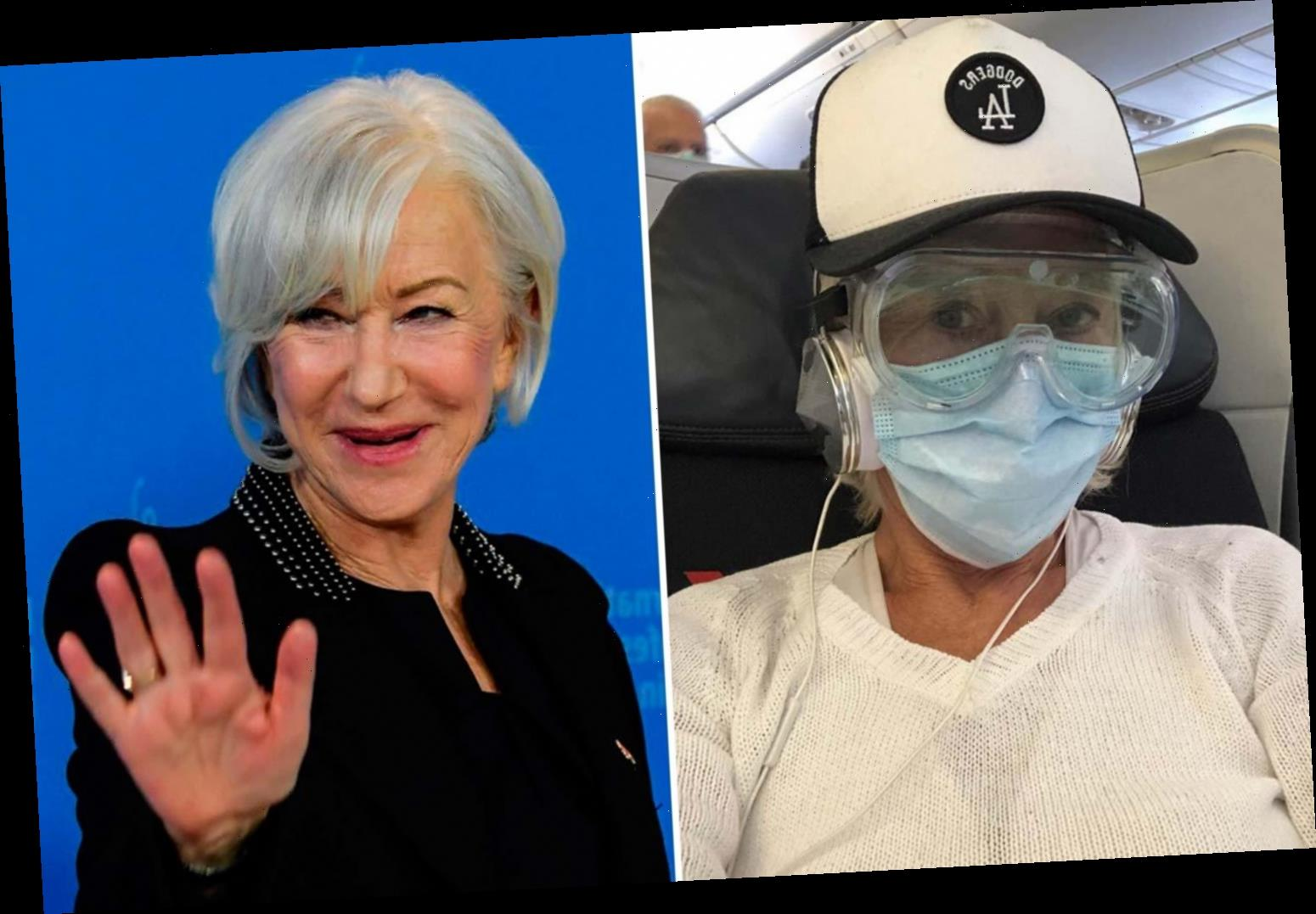 Dame Helen Mirren takes no chances as she boards a flight in safety goggles and a surgical mask