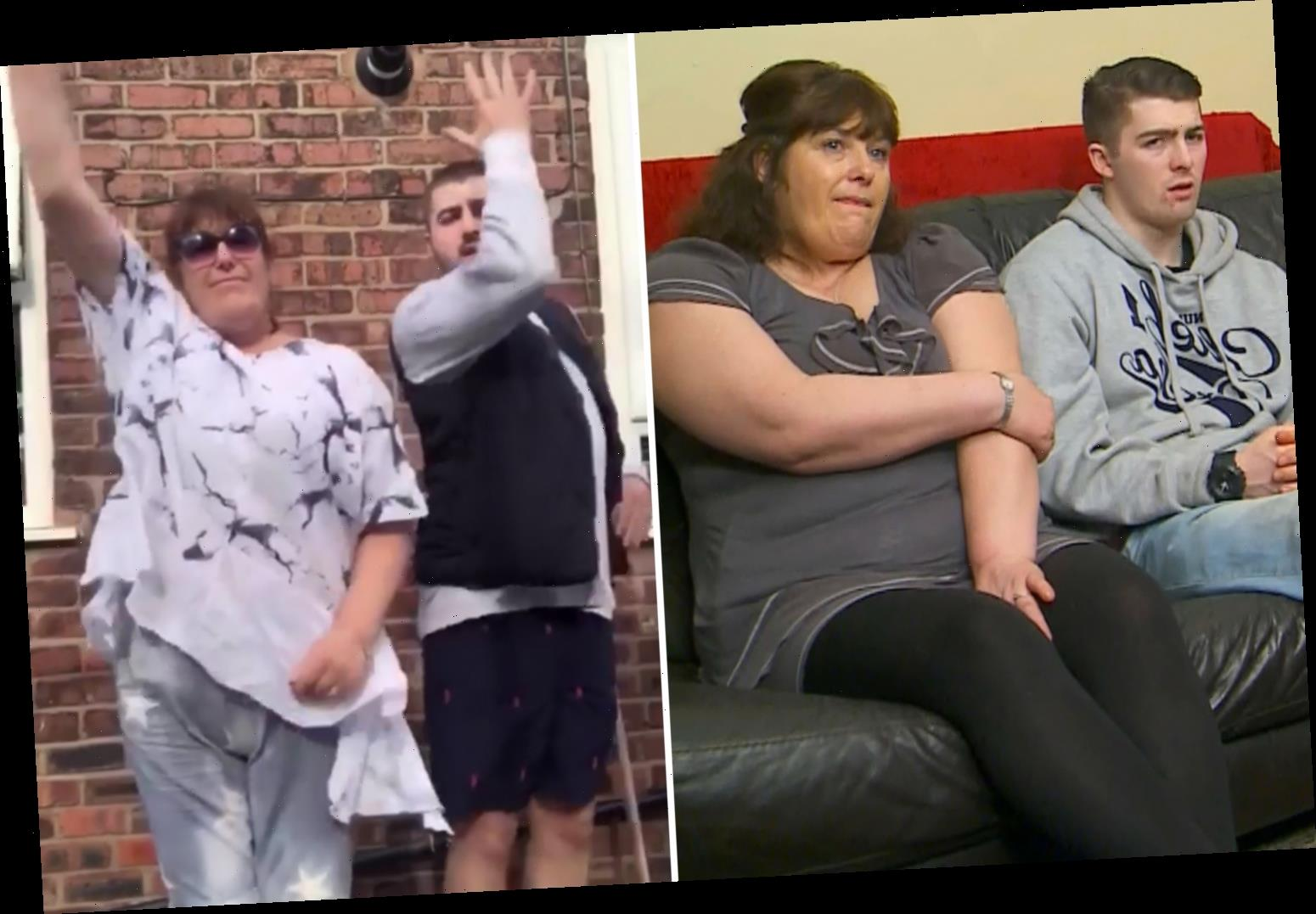 Gogglebox star Julie Malone shows off weight loss as the dances alongside TV star son Tom Jr