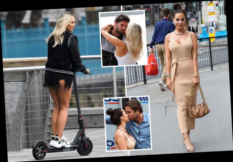 Towie's Amber Turner and Yazmin Oukhellou show off their curves as they get hot and heavy with their men while filming