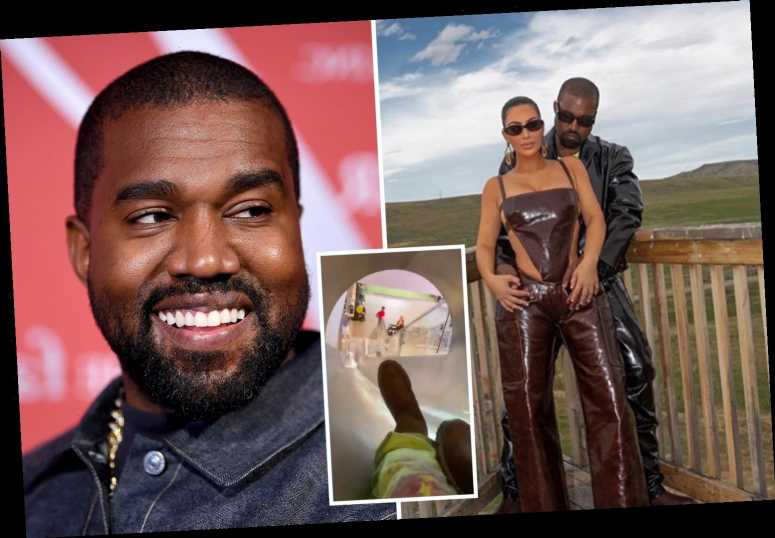 Kanye West laughs down indoor slide after Kim Kardashian joined rapper at Wyoming Sunday Service amid marriage crisis