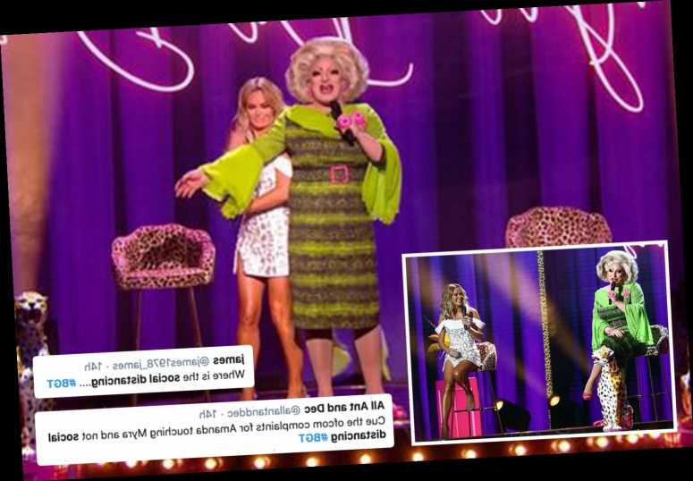 Furious Britain's Got Talent viewers accuse show of breaking social distancing as drag queen touches Amanda Holden
