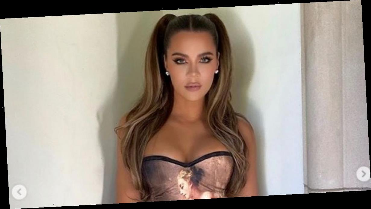 Khloe Kardashian 'unrecognisable' as she flaunts tiny waist and boobs in corset