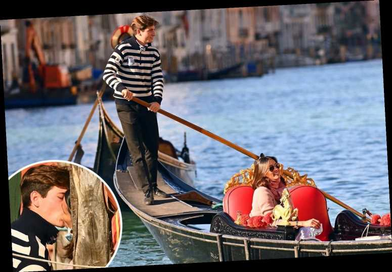 Melanie Sykes, 50, snogs toyboy lover, 23, as they reunite in Venice and he takes her to lunch on his gondola