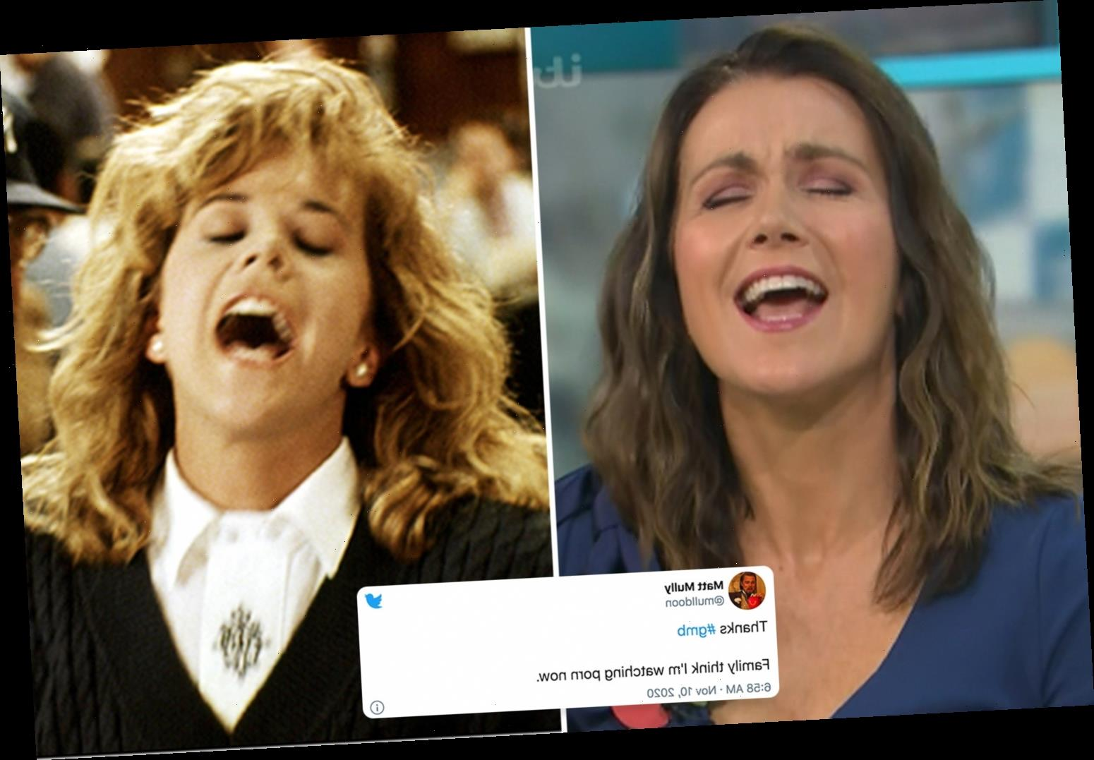 Susanna Reid leaves fans choking on their cornflakes as she acts out 'orgasm' scene from When Harry Met Sally