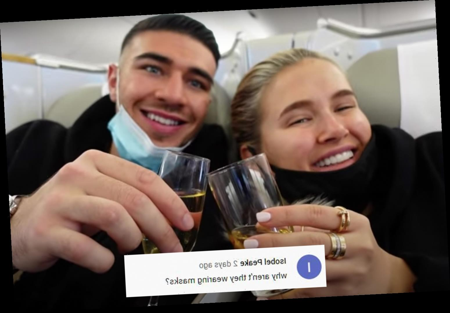 Molly-Mae Hague and Tommy Fury anger fans by not wearing face masks in Dubai vlog