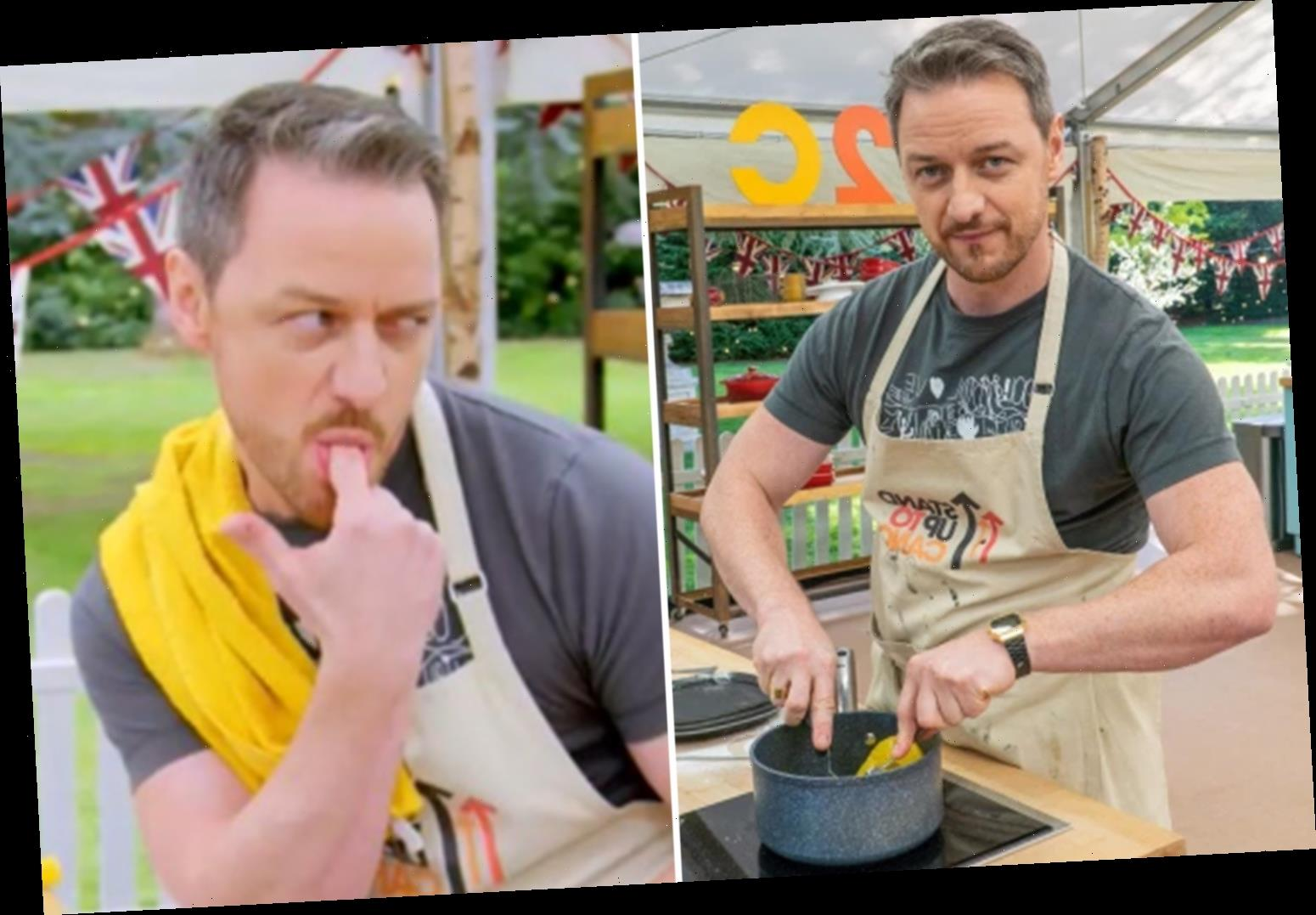 Celebrity Bake Off viewers left blushing as James McAvoy discusses his 'stiff peaks' during innuendo filled appearance