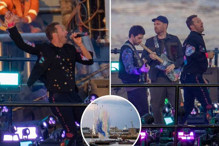 Coldplay set off fireworks from barge on River Thames for comeback performance