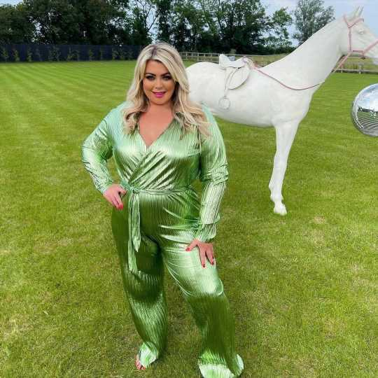 Gemma Collins shows off her slim waist in a slinky metallic jumpsuit after 3st weight loss