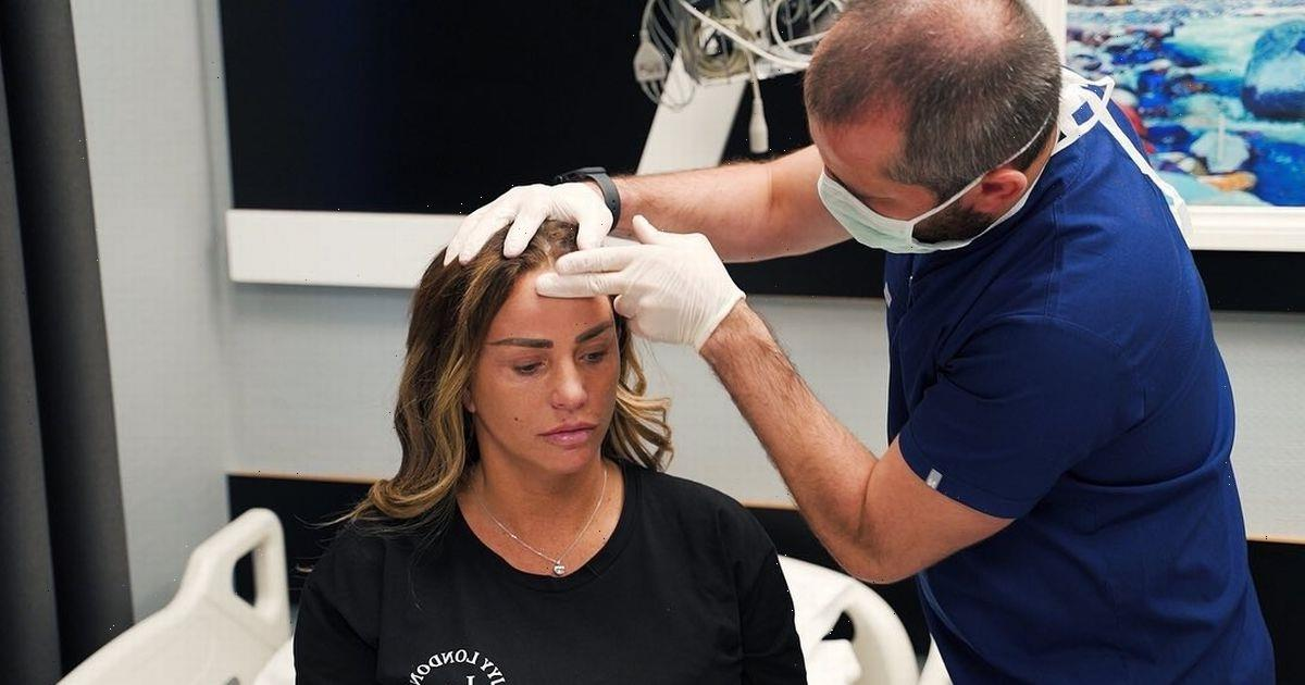 Katie Price's swollen face is wrapped in bandages in new surgery pictures