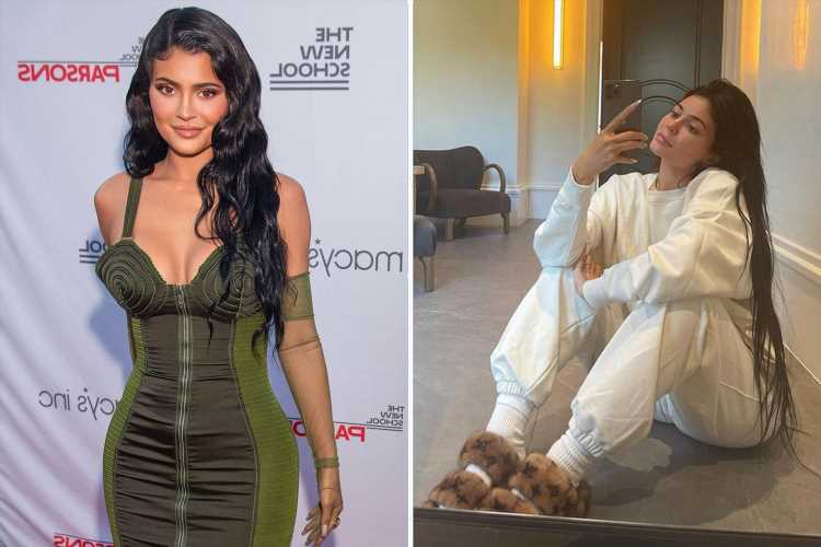 Kylie Jenner trades her dresses for sweatpants & Louis Vuitton slippers in makeup-free selfie amid rumors she's pregnant