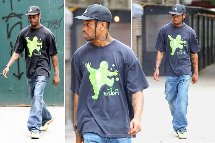 Travis Scott looks stoic as he's seen for first time since Kylie Jenner 'pregnancy' announcement during NYC walk